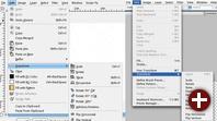 Die Menüstruktur von GIMPshop (links) und Photoshop (rechts)