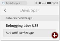 ADB-Aktivierung (hier bereits in Firefox OS 2.5)
