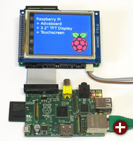 Advaboard RPi1 mit Display und Touchscreen