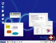 Der Desktop von ajaxOS mit Anwendungen