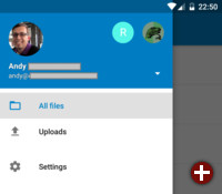 Aktionsleiste des Nextcloud Android-Clients 1.1.0
