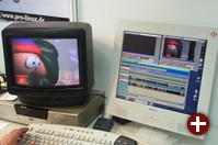 Am Pro-Linux-Stand: Videoschnitt und simultane Ausgabe auf Fernseher und Monitor