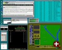 Zu Atheos' Hochzeiten stand teilweise mehr Software zur Verfügung als heute. Hier sind Lincity und Galaga zu sehen
