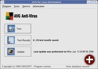 Grafische Oberfläche von AVG Free für Linux