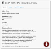 Beispiel eines Erratum mit Red Hat Security Announcement-Informationen