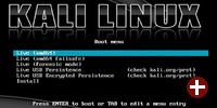 Bootmenü von Kali Linux
