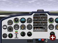 Teilansicht des Cockpits einer Cessna 310 U3A
