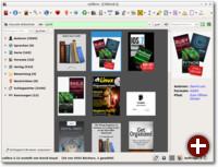 Calibre mit Cover-Raster, das eine Bibliotheks- oder Regalansicht der Bücher ermöglicht