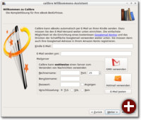 Calibre Welcome Wizard, 3. Schritt: Einrichtung von Kindle E-Mail