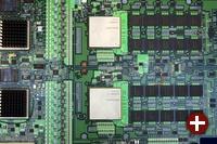 Cell-Prozessoren auf einem Test-Board von IBM