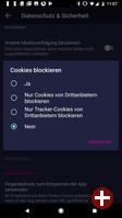 Cookie-Optionen von Firefox Klar 8.0