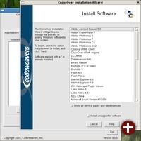 Vorbereitete Templates für verschiedene Applikationen unter Crossover 8.0