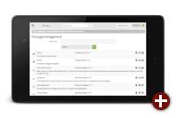 Das neue Layout des Administrationsbereichs von Kajona 4.7 auf einem Tablet