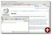 Das Wort »Mozilla« wurde markiert und mit einem Klick auf das »W« öffnet sich die Fehlerkonsole