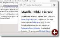 Der markierte Begriff »Mozilla Public License« wurde in Wikipedia nachgeschlagen