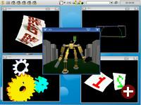 Desktop von Syllable 0.6.7 mit OpenGL-Anwendungen