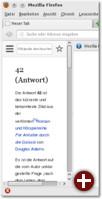 Die angelegte Sidebar mit dem gewünschten Wikipedia-Artikel