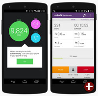 Die Apps Moves und Runtastic Pedometer unter Android 4.4