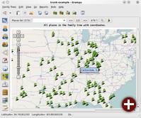 Die Geoview in GRAMPS 3.2 zeigt die geografische Verteilung der Sippe