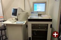 Die Gonicus GmbH zeigt Thin Clients (links) und Hochverfügbarkeitslösungen mit Clustern und RAID-Arrays (rechts), die auf SGIs freier Failsafe-Software basieren