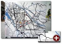 Die Infotafeln der Stadt Sonthofen zeigen Ausschnitte von OpenStreetMap-Karten unter CC-Lizenz