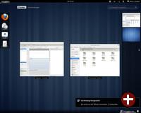 Die neue Übersicht blendet ausgeführte Applikationen ein und bietet das Verschieben zwischen verschiedenen Workspaces und das Starten von neuen Applikationen an
