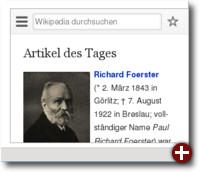 Die Startseite der mobilen Wikipedia in einem Panel
