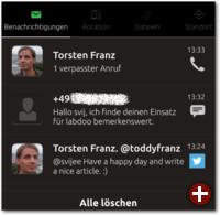 Ein verpasster Anruf, eine SMS und ein Tweet in den Benachrichtigungen