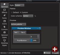 Einstellungen für die Theme Engine in Lumina 1.4.0