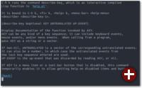 Erklärung zur Funktion, die man soeben aufgerufen hat, in diesem Fall über die Tastenkombination Strg+h k