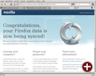 Erster Start von Firefox Sync