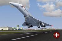 FlightGear: Concorde im Landeanflug in London Gatwick