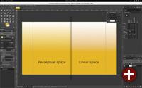 Gradientenwerkzeug mit Wahrnehmungs- und linearem Farbraum in Gimp 2.10