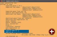 Hardware-Voraussetzung: Mit dem Terminal-Programm ethtool überprüfen Sie zunächst, ob der Chip des Netzwerkadapters die Funktion »Wake on LAN« unterstützt