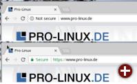 In Chrome als unsicher und sicher markierte Seiten