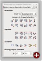 Der Dialog »Ausrichten und Verteilen« ermöglicht es, Objekte aneinander auszurichten