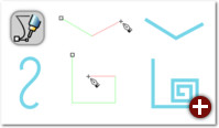 Das aktuelle Liniensegment wird beim Zeichnen rot dargestellt. Oben: normaler Modus, links: Spiralpfad, unten: Horizontal-/Vertikal-Modus