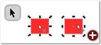 Das Auswahlwerkzeug: links im Skaliermodus, rechts im Rotationsmodus