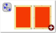 Das linke Objekt ist ein Rechteck mit den entsprechenden Anfassern, rechts wurde es in einen Pfad umgewandelt