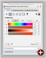 Der Dialog für Füllung und Kontur erlaubt die Feineinstellung der Farben, Muster, Verläufe und Konturstile von Objekten