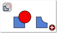 Differenz: Der oben liegende Kreis wird aus dem Rechteck ausgeschnitten