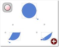 Ein echter Kreis (oben) entsteht mit gedrückter Strg-Taste. Für Kreissegmente zieht man den runden Anfasser und hält dabei die Maus außerhalb des Kreises (links unten), für Kreisbögen innerhalb (rechts unten)