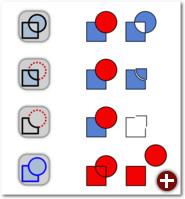 Von oben nach unten: Exklusiv-Oder, Division, Pfad zerschneiden, Pfad zerlegen (bei den letzten drei wurden die zwei Objekte, die jeweils entstehen, zur besseren Darstellung etwas auseinandergeschoben)