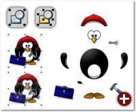 Links der Pinguin als Gruppe, in der Mitte sind alle Gruppen und Untergruppen aufgelöst worden, so dass die einzelnen Objekte erkennbar werden. Das rechte Beispiel zeigt, wie man eine Zeichnung mit Gruppen organisieren kann