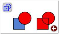 Kombinieren: Kreis und Rechteck (links) werden zu einem Pfad mit zwei Unterpfaden kombiniert (rechts)
