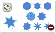 Mit den Anfassern und den Optionen in der Werkzeugleiste für das Sternwerkzeug lassen sich interessante Formen erzeugen
