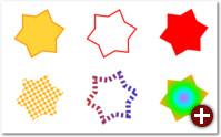 Diese Vektorsterne unterscheiden sich nur in den Eigenschaften für Füllung und Kontur