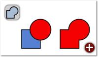 Vereinigung: Kreis und Rechteck (links) werden zu einem einzigen, zusammenhängenden Pfad vereinigt (rechts)