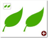 Beim Vergrößern wird die Rastergrafik pixelig, das Vektorbild (links) bleibt scharf
