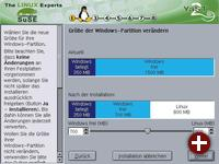 Windows-Partitionen mit YAST2 verändern